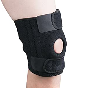 Knee Support, Splaks Knee Brace Pads with Open-Patella Stabilizer Adjustable Strapping for Sports, Exercise, Joint Pain Relief, Arthritis and Injury Recovery-Black