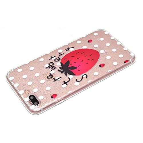iPhone 7 Plus Hülle, Glitzer Durchsichtig Silikonhülle für iPhone 8 Plus Bumper, Aeeque Relief Slim Weich Muster Gel Klar Rahmen Flexibel Handy Schützt Skin Shell Hülle Tasche Backcase für iPhone 7 Pl B- Erdbeeren