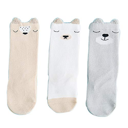 FQIAO Baby Socks 3Packs 6-12Months Unisex XS Size Cartoon Middle Tube Cotton Breathable Children Sock for Autumn Winter