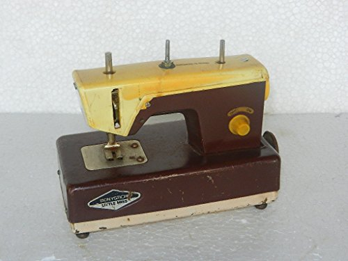 Rare Vintage Battery Bonystich Little Miss Sewing Machine Litho Tin Toy, Germany