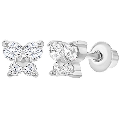 Rhodium Plated Small Butterfly Earrings with Screw On Backs for Girls Kids (Plated Butterfly Earrings)