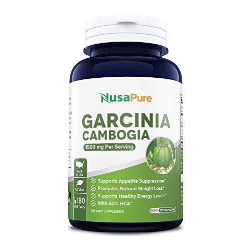 Pure Garcinia Cambogia 180 Veggie Caps 1500mg (Vegetarian, Natural, Non-GMO & Gluten Free) - Weight Loss Supplement - Natural Appetite Suppressant (Exceptional Garcinia Cambogia With Apple Cider Vinegar)