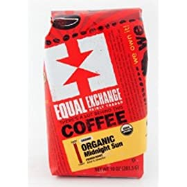 Equal Exchange Organic Coffee, Midnight Sun, Whole Beans, 10 Ounces, 3 PACK 8 This intensely dark blend is balanced and delicious with rich chocolate fudge and a syrupy mouth feel. French Roast FAIR TRADE.   KOSHER.