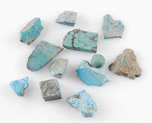 Turquoise Rough Rocks - Genuine Natural Turquoise Rocks 10 Gram Lot, Reiki Crystals and Healing Stones E0053-10g
