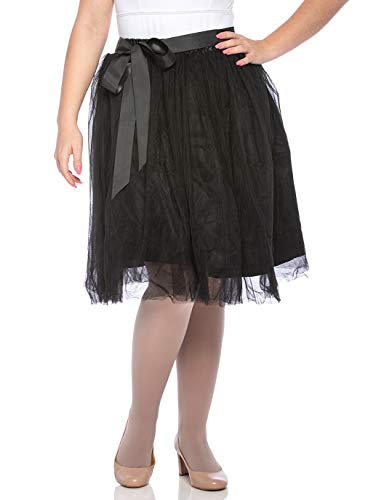 Dancina Women's Knee Length Tutu A Line Layered Tulle Skirt Plus (Size 12-22) Black ()