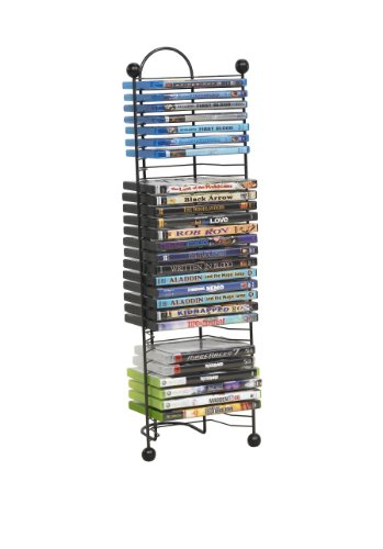 (Atlantic Nestable 32 DVD/Blu-Ray/Games Rack - Space Saving Modern Design, Durable Steel Construction PN63712046 in Black)
