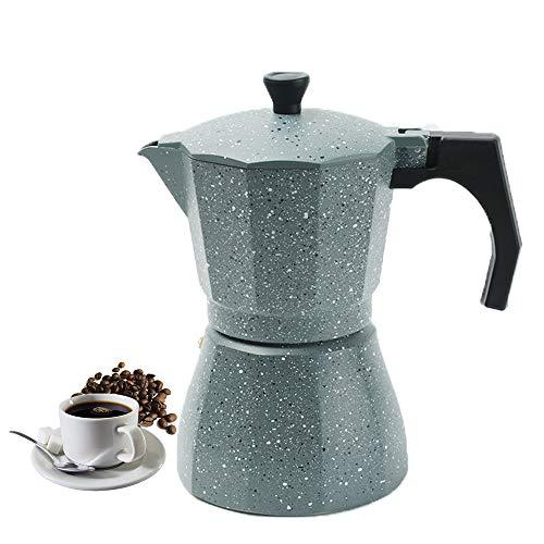 Vinekraft Moka Pot Espresso Coffee Maker Stove Top Coffee Pot 6 cups/300ml -Grey