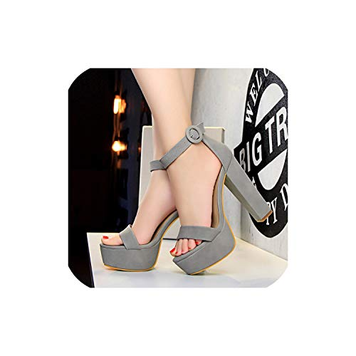 2019 Women Classic 13 cm Block High Heels Fetish Suede Platform Sandals Chunky Summer Shoes,Gray,7.5