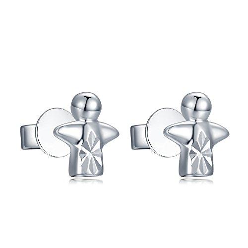 Or blanc 58514ct Mini Guardian Angel Boucles d'oreilles clous, filles Ado St Valentin bijoux cadeau