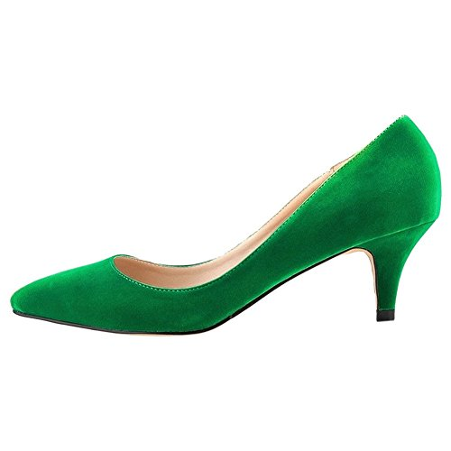 MERUMOTE Middle Heels, Pointed Toe Low Heel Dress Daily Work Shoes Pumps Green