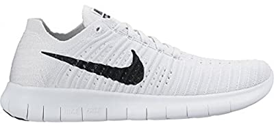 Nike Women's Free Running Motion Flyknit Shoes, White/Black-pure Platinum - 6 B(M) US