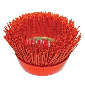 AES Industries 80 Grit 4'' Abrasive Nylon Filament Bristle Surface Prepping Cup Brush