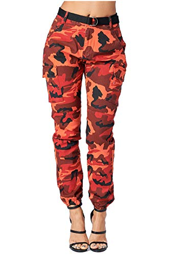 TwiinSisters Women's High Rise Slim Fit Color Jogger Pants - Size Small to 3X (Medium, Autumn Red #Rjj2036)