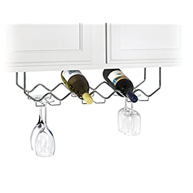 Useful. UH-GB186 Under Cabinet Stemware Holder and Wine Rack - Holds 6 Bottles/6 Stems - Chrome