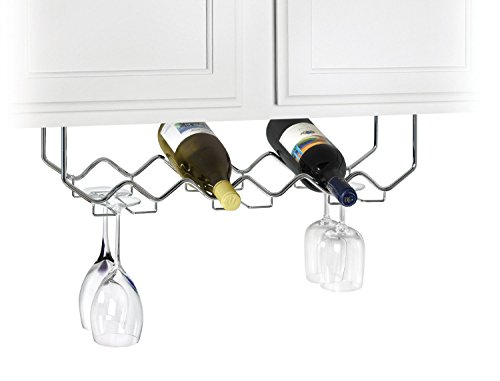 Useful. UH-GB186 Under Cabinet Stemware Holder and Wine Rack - Holds 6 Bottles/6 Stems - (Chrome Wine Rack)