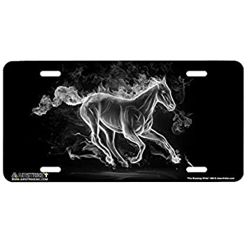 Funny License Plate Holders Fire Mustang White Horse Car Tags Plates Frame Sign