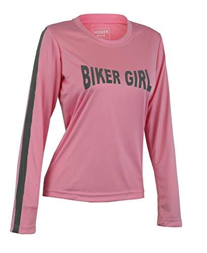 Hugger Ladies High Visibility Dri Fit Polyester Long Sleeve Shirt for Motorcycle, Walking/Running, and Cycling (XLarge, Pink_BikerGirl) ()