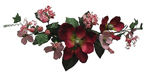 Wholesale Silk Floral Crinkle Silk Rose Swag, 28'', Burgundy by Wholesale Silk Floral