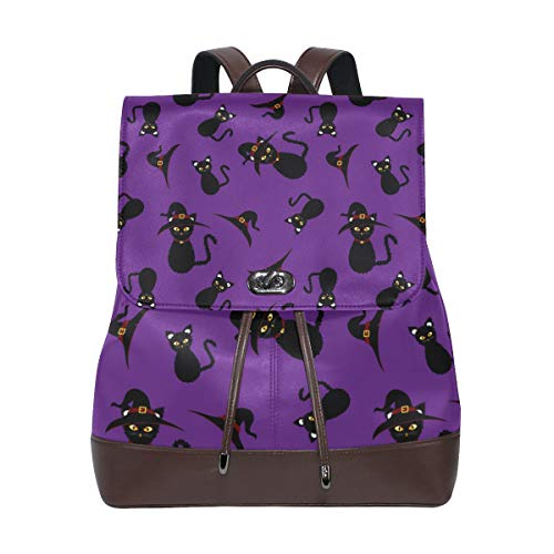 Unisex PU Leather Backpack Halloween Black Cat Purple Print Women's Casual Daypack Mens Travel Sports Bag Boy's College Bookbag -