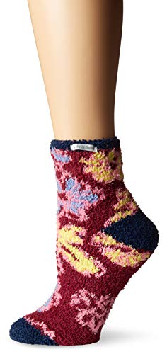 Life is Good Womens Snuggle Slipper Sock Collection,Flowers,Wild Cherry