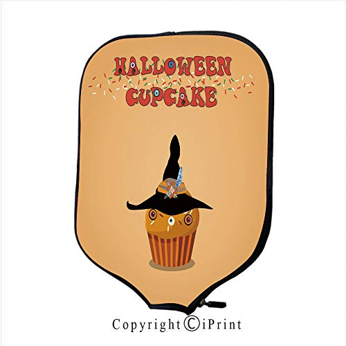 (Lightweight Neoprene Single Pickleball Paddle Cover,Cute Happy Halloween Mint Cupcake with Grave Cross and (Size:8.23