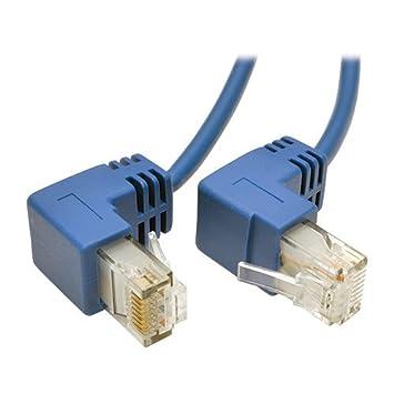 Tripp Lite Cat6 Gigabit Snagless Molded Slim UTP Patch Cable RJ45 M//M 2 2 ft Right Angle N201-SR2-BL