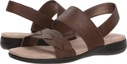 LifeStride Women's Espacito Flat Sandal, Dark Tan, 9 W US by LifeStride