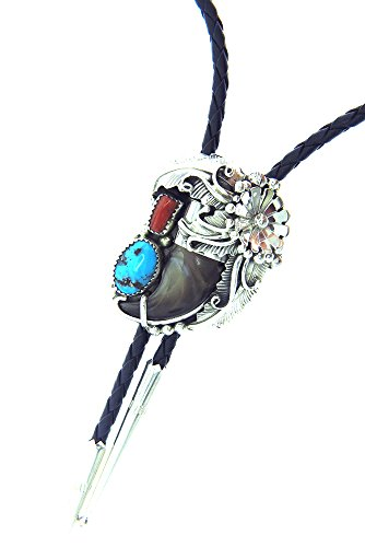 Rich Peel Navajo crafted  Albert Smith Bolo tie with a natural Bear Claw, a free form Turquoise and Coral stone