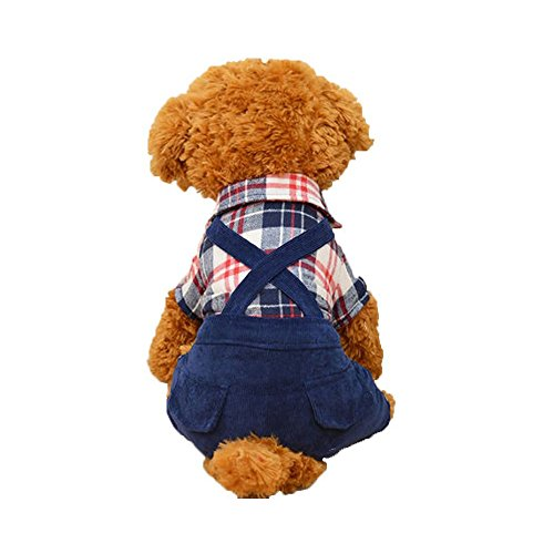 Oncpcare for Cold Weather Warm Dog Clothes Cozy Jumpsuit Outfits Dog Costume British Style Dog Suit with Overalls Pants]()