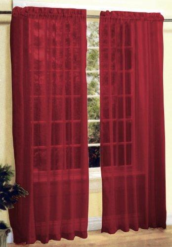 2 Pc Sheer Voile Window Curtain Panel Set Burgundy