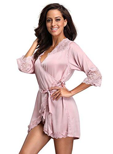 FanShou Women Short Silk Kimono Robe Lace Trim Satin Sleepwear Bridesmaids (Small/Asia tag Large, Pink)
