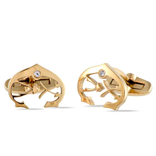 (Charriol C-Logo Stainless Steel Yellow Gold Plated White Cubic Zirconia Stone Cufflinks)