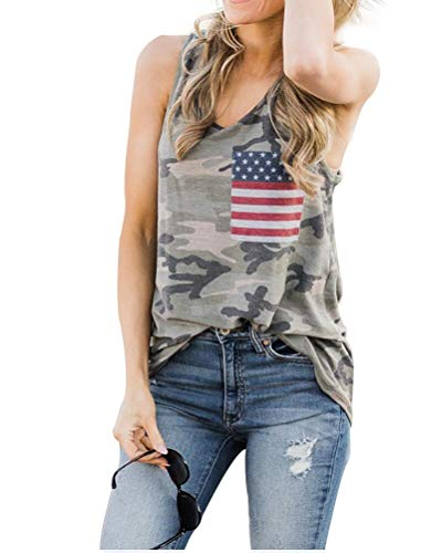 HDLTE Womens Camouflage Tank Tops American Flag Printed O-Neck Sleeveless Muscle Tunic Shirts Size L (Army Green)