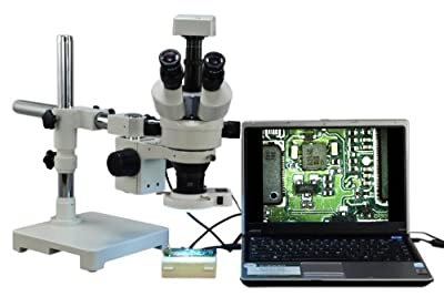 Stereoscope :: OMAX 3.5X-90X Digital Zoom Trinocular Single-Bar Boom Stand Stereo Microscope with 54 LED Ring Light and 3.0MP USB Digital Camera from Omax