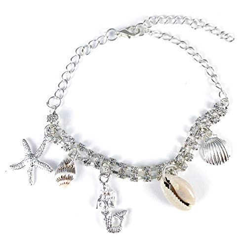 Silver Shell Anklet Mermaid...