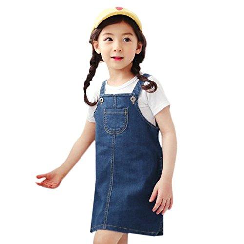 SMALLE Clearance Kids Baby Girls Cowboy Dress Bandge Sleeveless Princess Above Knee Mini Dress (5-6T, Blue) ()