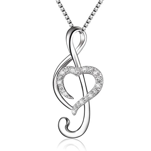(BGTY 925 Sterling Silver Cubic Zirconia Music Note Love Heart Necklace Pendant, Box Chain 18