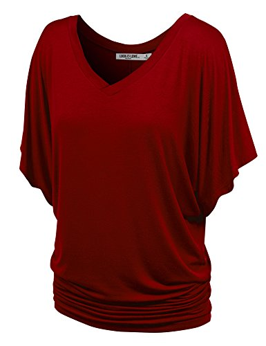 Lock and Love WT1038 Womens V Neck Short Sleeve Dolman Top L Wine ()