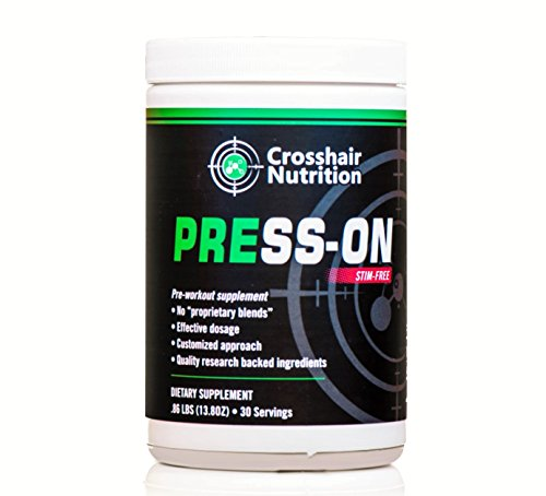 Press-On stim-free pre-workout supplement from Crosshair Nutrition (30 servings), contains Creatine, Carnosyn Beta Alanine, Citrulline, and other amino acids
