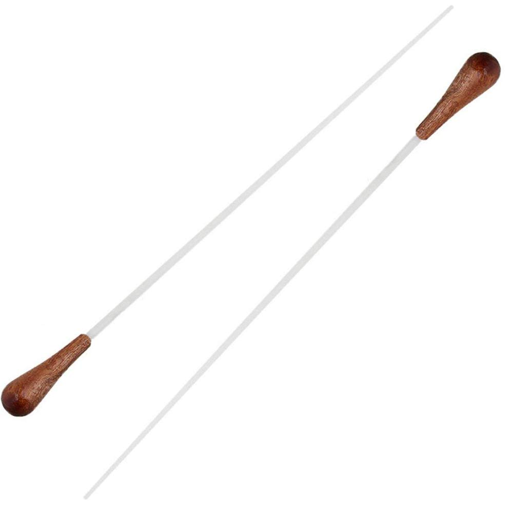 Timiy 15 Inch Length Music Baton Orchestra Baton Band Conducting Baton with Dark Brown Wood Handle-Pack of 2