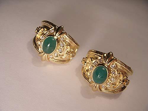 Etruscan 14K Yellow Gold Diamond Cabochon Emerald Huggie Earrings ()