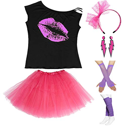 * NEW * I Love The 80's Lips Top and Skirt with Accessories - many colors