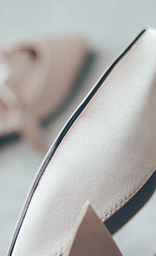 con Hadas Zapatilla de con de Muler DHG Planos Verano Desnudo Romana Zapatitos 36 Lazo Baotou Arqueado Zapatos gBq417xwP