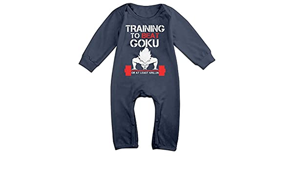 MJML5 Baby TRAINING TO BEAT GOKU OR AT LEAST KRILLIN GYM Romper Jumpsuit Navy