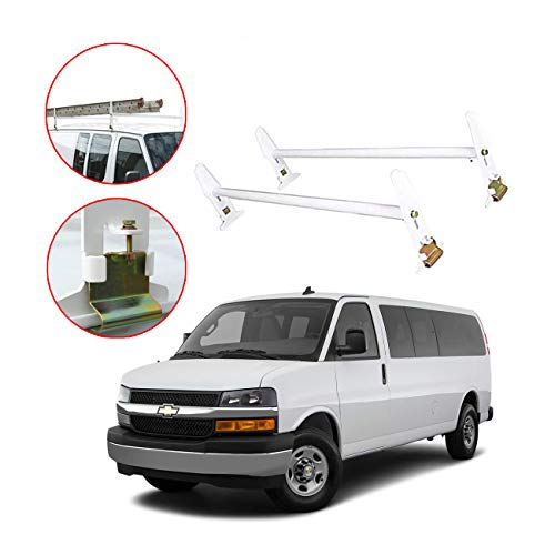 Adjustable Van Roof Ladder Rack Carrier 2 Rooftop Crossbars For Chevy Dodge Ford GMC Express White with up to 500Lbs…