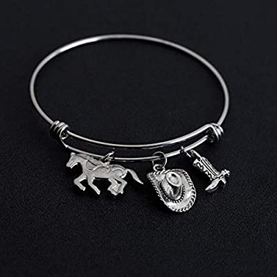 AKTAP Cowgirl Jewelry Cowboy Boot Charm Bracelet Horse Lover Gifts Cowgirl Gifts for Girls