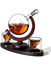 800ml Whiskey Decanter Set Skull Vodka Globe Decanter with 2 Glasses Liquor Dispenser with Wood Stand for Scotch Bourbon