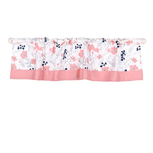 Coral Pink and Navy Blue Floral Print Window Valance by The Peanut - Tailored Valance Garden