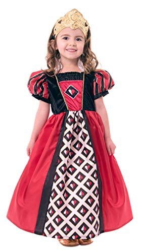 Little Adventures Queen of Hearts Dress Up Costume with Soft Crown (Large Age 5-7) Red