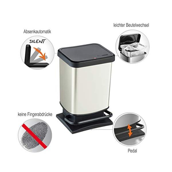 Rotho-Pattumiera-Paso-20-Litri-bidone-blocca-odori–293x266x457-cm-Cestino-in-Materiale-plastico-PP-Effetto-Acciaio-Inox-con-meccanismo-a-Pedale-per-Aprire-Il-bidone